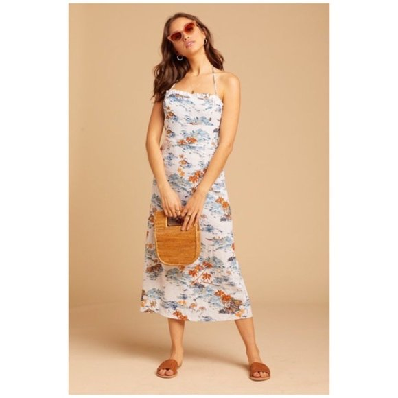 Free People Beach Party Linen Blend Midi Dress 2